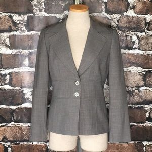 Tahari ASL Blazer Suit Coat Jacket Gray 2 Petite